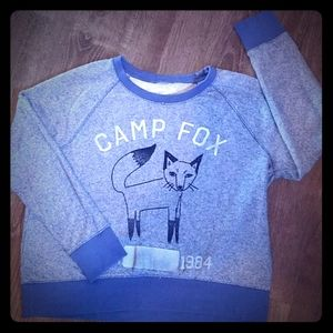 Blue Camp Fox cropped sweatshirt size medium